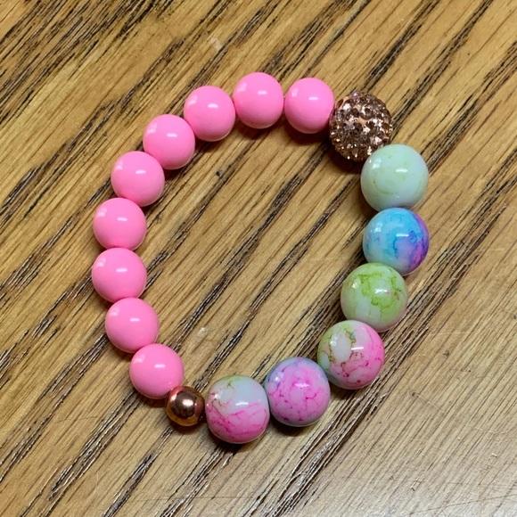 Handmade 'Little Girl' Pink/Splatter Bead Bracelet